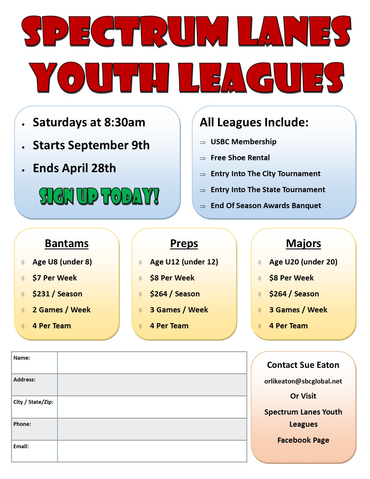 spectrum lanes youth leagues
